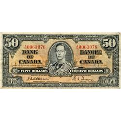 BANK OF CANADA.  $50.00.  1937 Issue.  BC-26a.  Osborne.  No. A/H0063076.  Some soiling, otherwise F