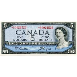 BANK OF CANADA.  $5.00.  1954 Issue.  BC-39aA.  No. *A/C0024523.  EF;  BC-39aA-i.  No. *R/C0001242.