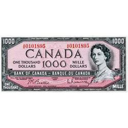 BANK OF CANADA.  $1000.00.  BC-44b.  No. A/K0101895.  Choice AU.