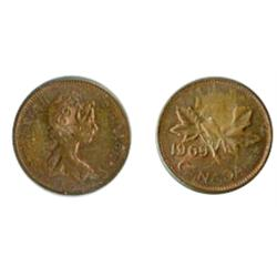 ONE CENT.  1969. A double-struck Flip strike. Clear dates on both obv. & rev.  Mint State.