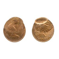 ONE CENT.  1979. A double-struck error, with the second strike at 6:00 o'clock.  Also, a part brocka