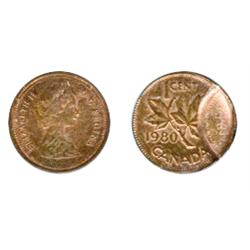 ONE CENT.  1980. Double struck, with a partial, out of collar strike at 9:00 o'clock, resulting in a