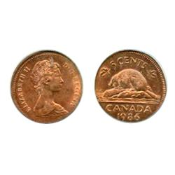 FIVE CENTS.  1986. Five Cents struck on a Cent planchet. PCGS graded Mint State-62. Red-Brown. 70% r