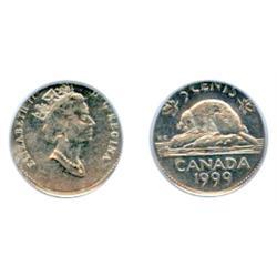 FIVE CENTS.  1999. Five Cents struck on a Ten Cents planchet.  PCGS graded AU-58.