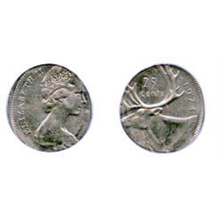 TWENTY-FIVE CENTS.  1974. Twenty-Five Cents struck on a Ten Cents planchet.  PCGS graded Mint State-