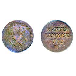 Breton-506. 9 Deniers. 1722-H.  ICCS Fine-15.