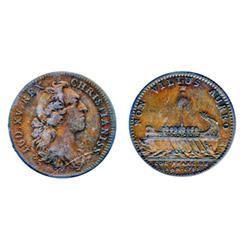 Breton-515. Jeton. 1755. Argonaught's Vessel.  ICCS Fine-15.  An original copper token.