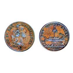 Breton-515. Jeton. 1755. Argonaught's Vessel.  ICCS Very Fine-20.  An original copper token.