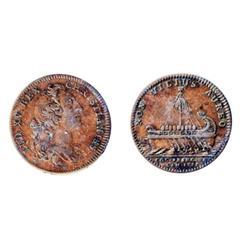 Breton-515. Jeton. 1755. Argonaught's Vessel.  ICCS Very Fine-30.  An original copper token.