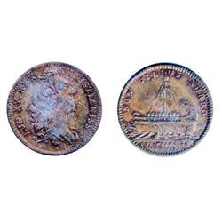 Breton-515. Jeton. 1755. Argonaught's Vessel.  ICCS Extra Fine-40.  An original copper token.
