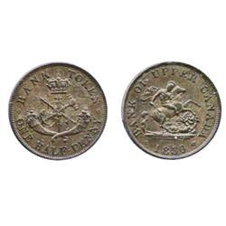 Breton-720. PC-5A. ½ Penny Token. 1850. ICCS Choice AU-55. Brown.