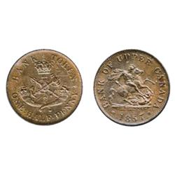 Breton-720. PC-5D. ½ Penny Token. 1857. ICCS Mint Stte-60. Brown.