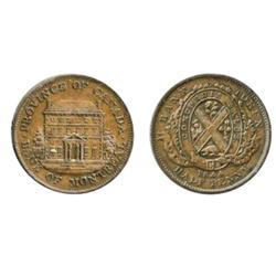 Breton-527. PC-1B3. ½ Penny Token. 1844. ICCS AU-50. Brown.