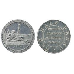 Breton-721c. UC-1B4. Copper Company of Upper Canada. 1794. 19th. Century Restrike in Aluminum. 2.3 g