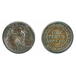 Breton-962. NS20A3. One Penny. 1813. Trade & Navigation.  ICCS Extra Fine-45.