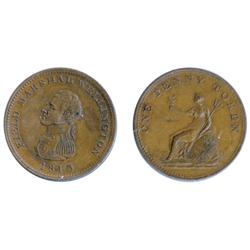Breton-974. WE-3. One Penny Token. 1813. Field Marshall Wellington. Mint State-60.  A rare token in