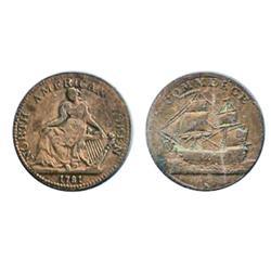 Breton-1013. AM-5A1. 1781. North American Token.  Copper. Very Fine-20.