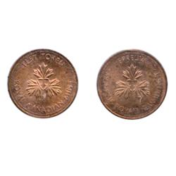 TEST TOKEN.  One Cent. No Date. CH-TT-1.3C. Round, with Beads. French/English legends.  CCC graded M