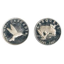 Laqueti Mint. 1997/2007. Obv: LASQUETI/1997/2007. Frog. Rev: CASCADIA. ½ oz. .999 Fine. Hummingbird.
