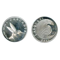 Lasqueti Mint. Obv: LASQUETI/2005. Naked woman with swirling hair. Rev: CASCADIA. ½ oz. .999 Fine. H