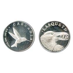 Lasquetti Mint. Obv: LASQUETI/2008. Crow eating date. Rev: CASCADIA. ½ oz. .999 Fine. Hummingbird. S