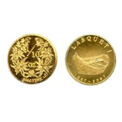 Lasqueti Mint.  1997-2007. Obv: LASQUETI. Dory. Rev. 1/10 oz. .9999 Fine. 'Herbs'. Gold. 16mm. CCCS