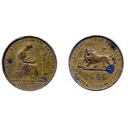 GREAT BRITAIN.  Obv: STUDIO FALLENTE LABOREM. MDCCCVII (1807). Seated Woman. Rev: LONDON INSTITUTION