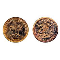 CHILE. 100 Pesos. 1946. KM#175. .5887 oz. AGW.  AU.