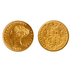 ENGLAND. ½ Sovereign. 1853. (The date appears to be a larger date, similar to the Proof issue). Spin