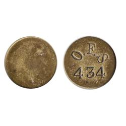 Orange Free State. A South African Plantation Token. Obv: O.F.S./434. Uniface. Copper.