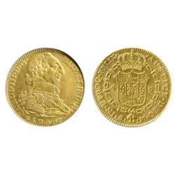 SPAIN. 4 Escudos. 1788M. NNC graded Mint State-62. A lustrous gold coin.