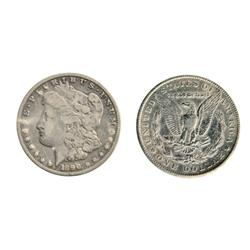 MORGAN DOLLARS.  1890-CC. Very Good-10; 1902-S. Very Fine-30. Lot of two (2) better date coins.