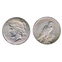PEACE DOLLAR.  1921. ICCS Extra Fine-40.