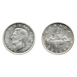1937.  ICCS Mint State-64.  A brilliant and lustrous dollar.