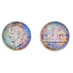1939.  PCGS graded Mint State-65.  A Gem, with deep purple, iridescent toning and traces of dark rai