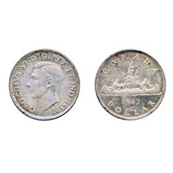 1945.  ICCS Mint State-62.  A lightly toned dollar.