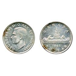 1947, Blunt 7.  Designated the 'Doubled 7' variety by ICCS.  ICCS Mint State-62.  Lightly toned.