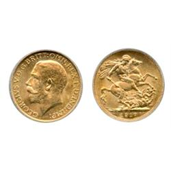 SOVEREIGN.  1917-C.  ICG graded Mint State-63.  Brilliant yellow luster.