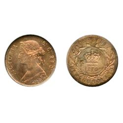 1872-H.  ANACS graded Mint State-65. Red-Brown.  The reverse is strongly struck and the fields are r