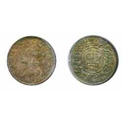 TWENTY CENTS.  1864.  ICCS very Fine20.  Medium heavy toning;  NOVA SCOTIA.  1.2 CENT.  1864.  ICCS