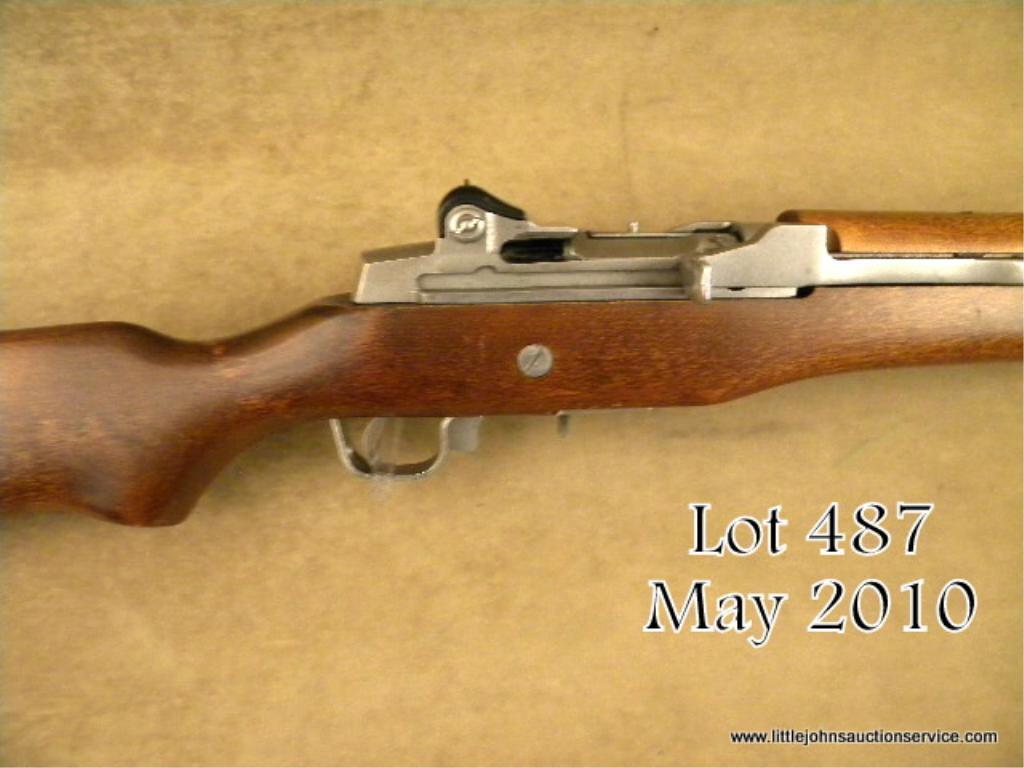 "Ruger Mini-14 semi-auto carbine,  223 cal , 18-1/2"" barrel, stainless  steel, wood stock, no magazi"