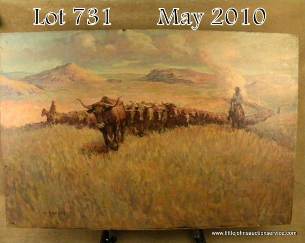 Original Oil Painting On Artist Board Of Cowboys Driving Cattle By R Crooks R Crooks Was Born In