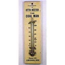 C. 1910 WOODEN ADVERTISING THERMOMETER -  OTTO HEE