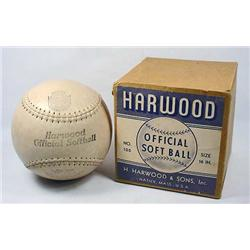 VINTAGE HARWOOD OFFICIAL SOFTBALL IN ORIG. BOX - 1