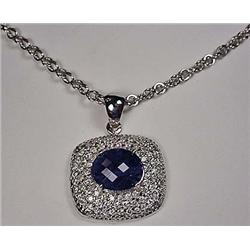 14K WHITE GOLD TANZANITE AND DIAMOND LADIES PENDAN