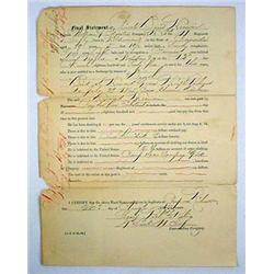 "1865 CIVIL WAR UNION SOLDIER ""FINAL STATEMENT"" DEA"