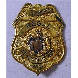 C. 1930'S OBSOLETE REGAL DETECTIVE AGY. BADGE - Ca