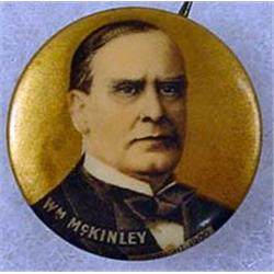 C. 1900 WILLIAM MCKINLEY CELLULOID POLITICAL PINBA
