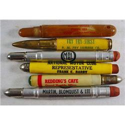 LOT OF 6 VINTAGE ADVERTISING BULLET PENCILS - Incl