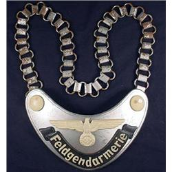 WW2 GERMAN NAZI ARMY FELDGENDARMERIE GORGET W/ CHA